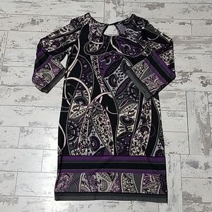 Purple Paisley party dress knee length size large